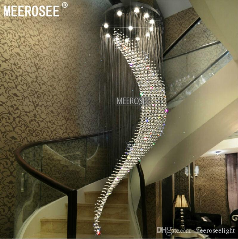 Large Spiral Crystal Ceiling Light Fixture Big Chandelier Res De Cristal Ing Villa Lamp For Staircase Hallway Lobby