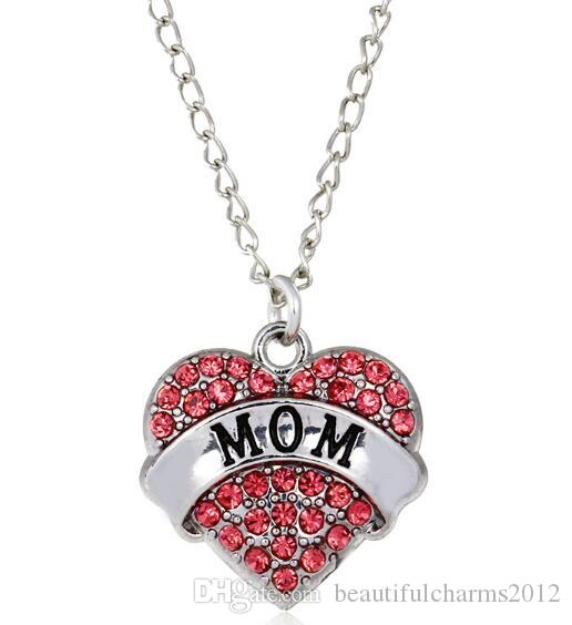New Pink Rhinestones Heart Pendant Necklace With Mom Faith Nurse Teacher Sister Believe Etc. Words Letters Fit For Family Gift