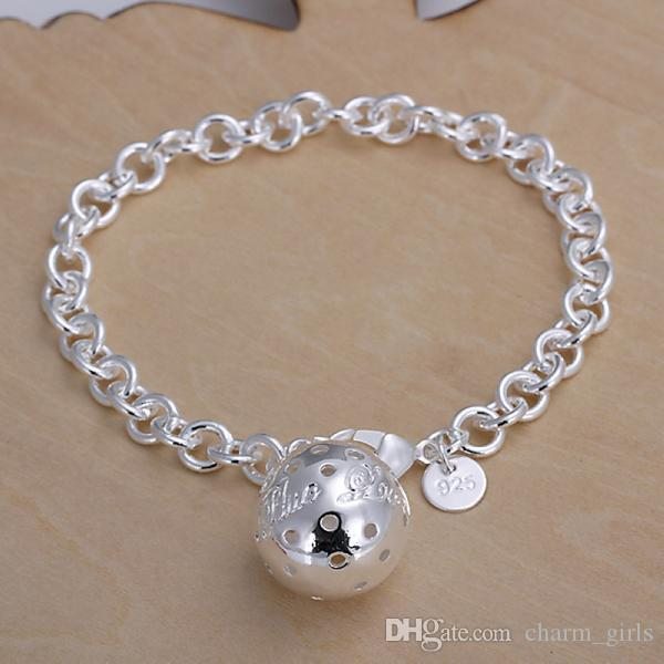 Lady / girl vogue Jewlery 925 sterling silver placcatura pendente di fascino hollow palla bracciali gamberetti fibbia braccialetto 10 pz / lotto H043