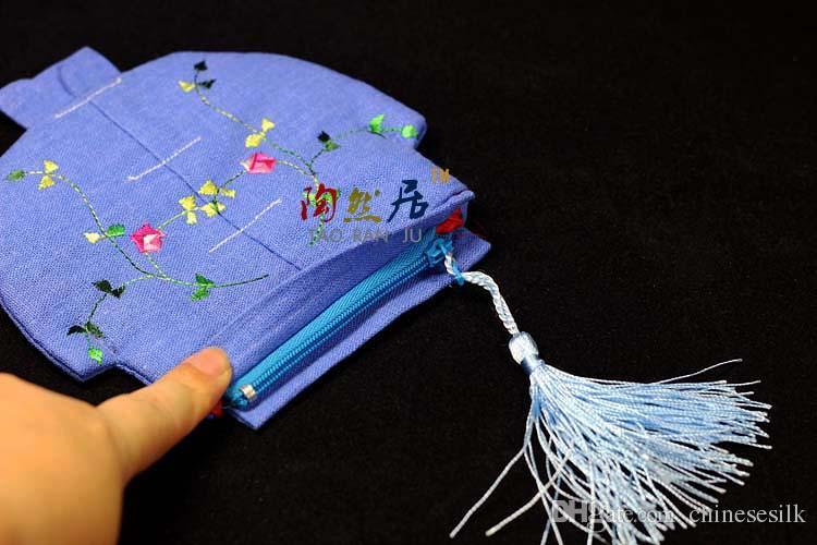 Vintage Çin giysi Işlemeli Keten Takı Torbalar Parti Iyilik Püskül Fermuar Hediye Paketleme Çantaları Coin Çantalar 100 adet / grup mix renk