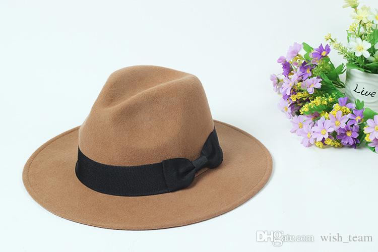 100% lana de fieltro de ala ancha disquete sombrero flexible Bowknot del sombrero de Fedora Para elegante Womem invierno de las señoras Auturmn cachemira Gangster sombrero de la iglesia