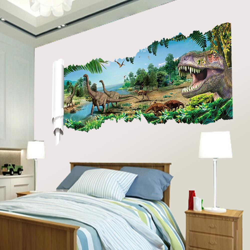 3d Dinosaurs Through The Wall Stickers Jurassic Park Home Decoration Diy  Cartoon Kids Room 1458 Wall Decal Movie Mural Art Part 82