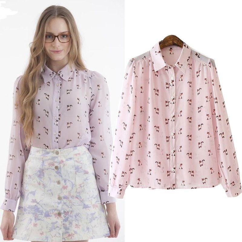 Best New Fashion Women Long Sleeve Ol Shirt Pink Cute Cat Print ...