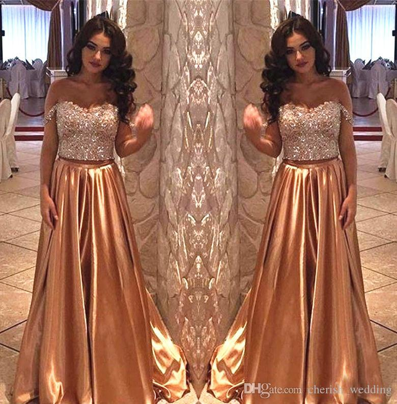 258f3343958 Gold Sequins Evening Dresses A Line Two Piece Beaded Off The Shoulder Zip  Elastic Satin Floor Length Draped Formal Prom Party Gowns Long Maxi Dress  Evening ...
