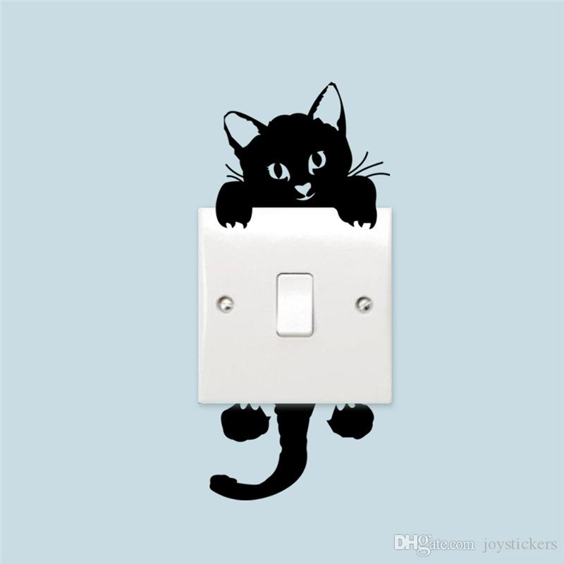 Freeship Cute Funny Cat Switch Stickers Home Decoration Wall Decals Mural Art Posters Vinyl Diy Adesivos De Paredes