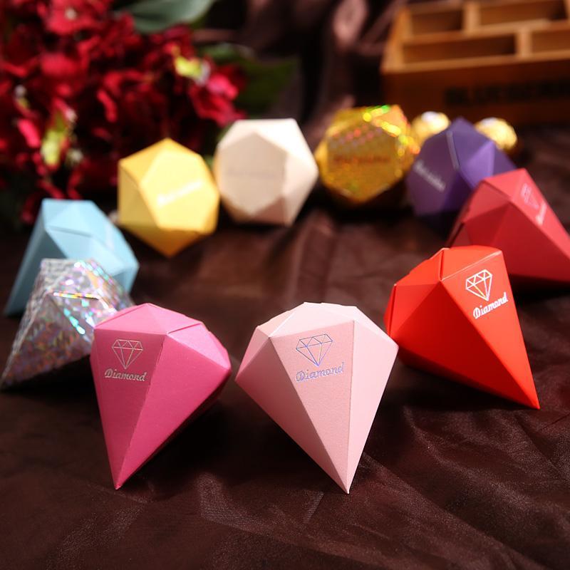 100 piezas en forma de diamante caja de dulces joyas de regalo cajas de papel de bricolaje favores de boda oro plata rojo púrpura