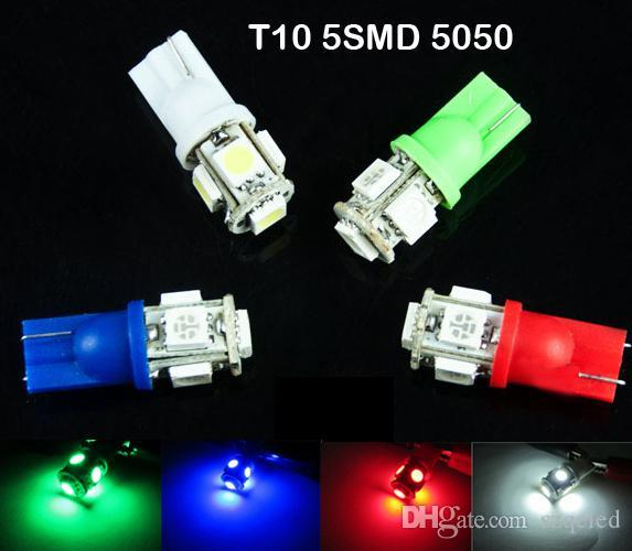 T10 Wedge 5-SMD 5050 Xenon LED Light bulbs 192 168 194 W5W 2825 158 clearance lamp White green red blue daytime running