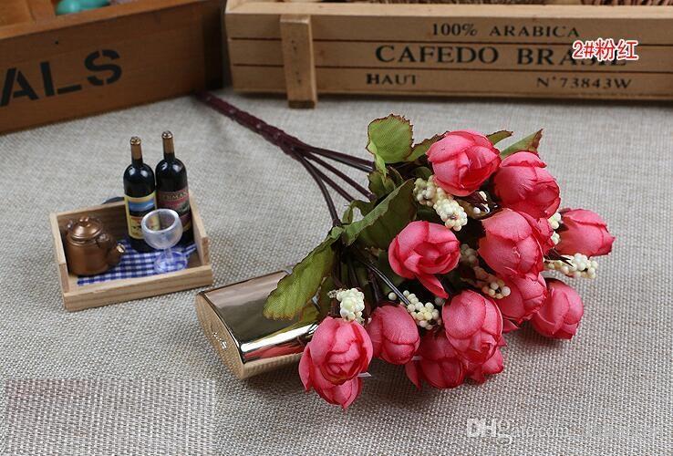 Noel Kaynağı 15 Mini Gül Yapay Çiçekler 7 Renk Seçimi Rosebuds Yıldız Parti Dekorasyon Çelenkler Ipek Tomurcuk Fabrika Doğrudan ER01