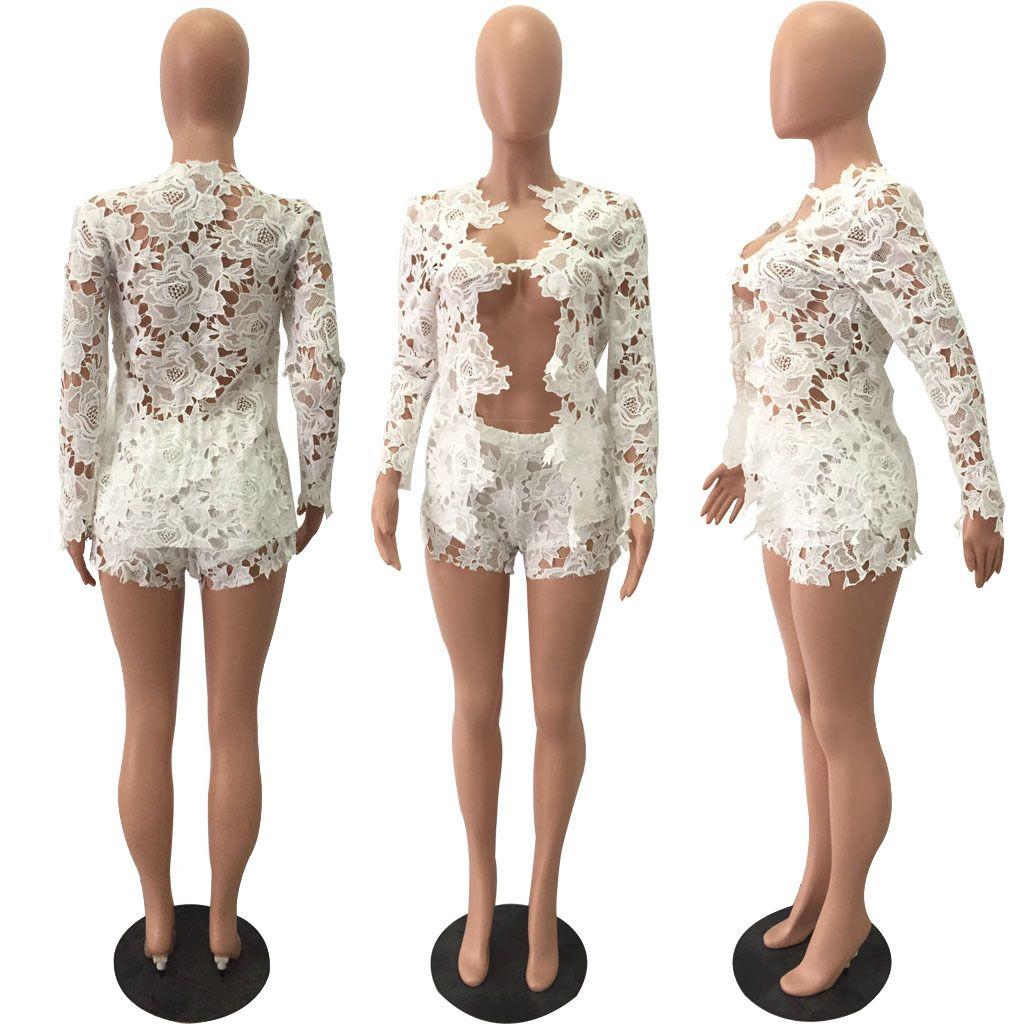 Moda seksi dantel uzun kollu ceket şort iki parçalı setleri kadın artı boyutu ilkbahar sonbahar yeni Hırka gömlek bluz suits oymak