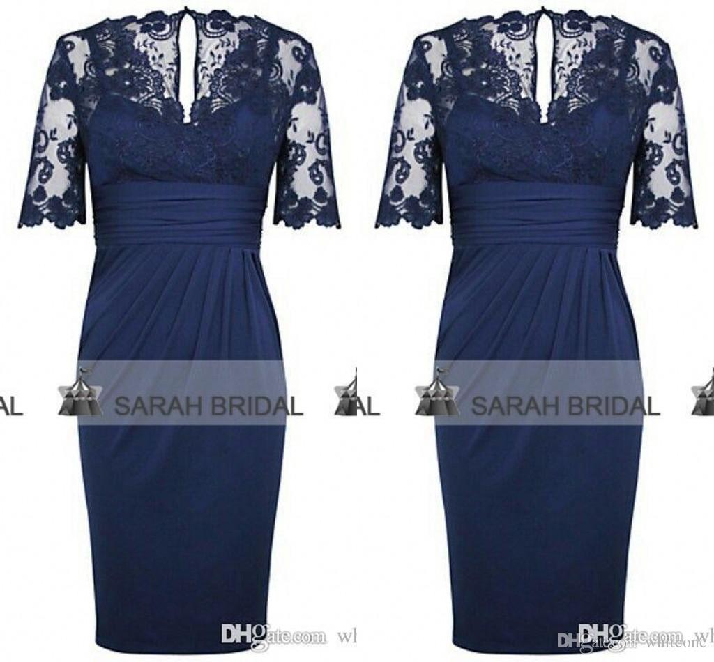 2015 Real Picture Navy Blue Lace Mother Of The Bride Dresses V Neck ...
