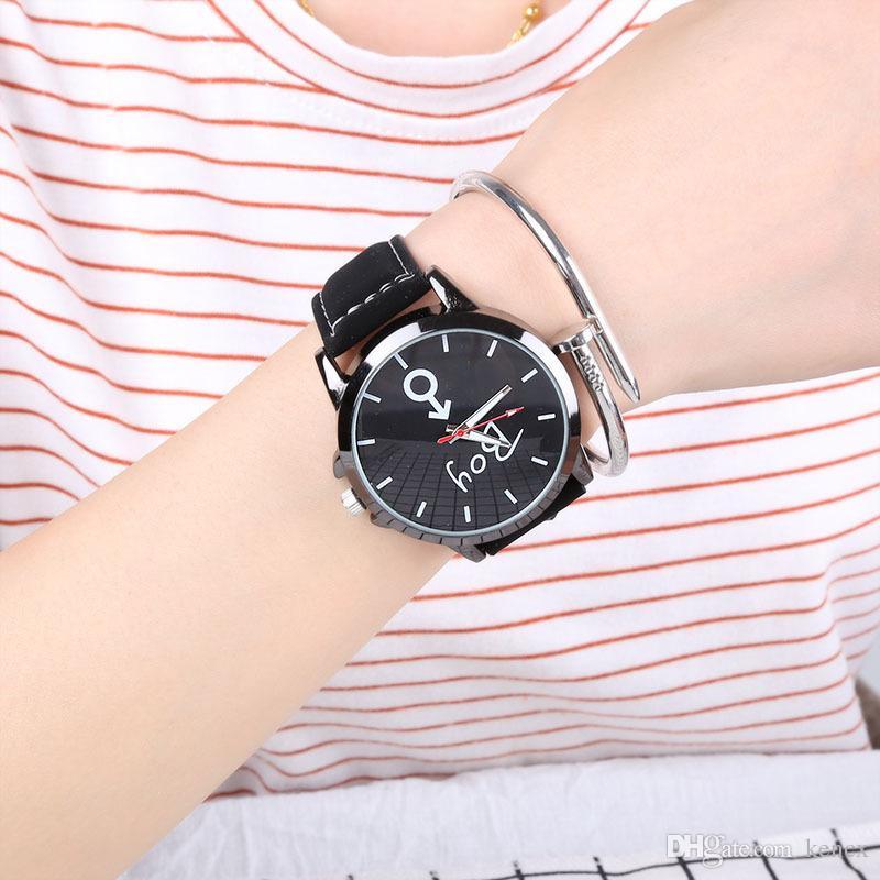 Heißer Verkauf Mode Große Zifferblatt Armbanduhren Neues Design Kreative Quarzuhr Männer Frauen Liebhaber Uhr Mit Lederband Weiß