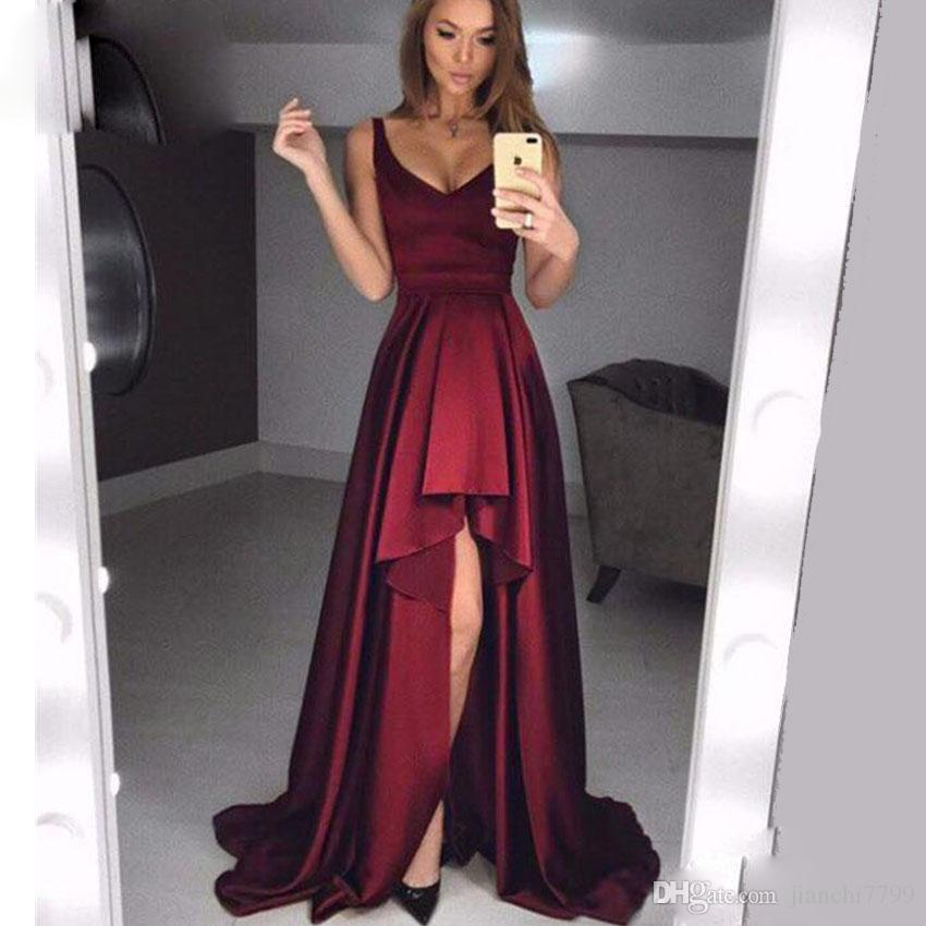Simple Elegant Long Sleeve V Neck A Line Lace Top Satin: Burgundy A Line Prom Dresses V Neck Long Open Legs Prom