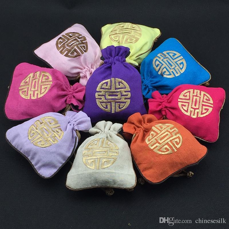 Китайский стиль вышивки повезло маленький мешочек хлопок белье шнурок ювелирные изделия подарок сумка свадьба пользу конфеты упаковка сумки 11 х 14 см 50 шт. / лот
