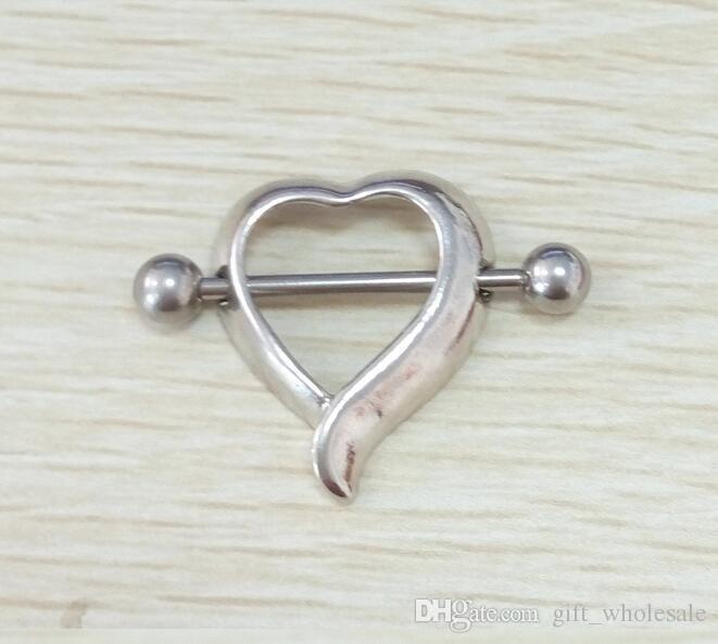 Anneaux de couverture Barbell Ronde Horseshoe Heart Squelette mains Anneaux de mamelon Piercing Nipple Ring Femme Sexy Pris dans le mamelon Piercing Bijoux