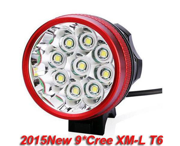 2015new RED color 9T6 BIke Light / 9*Cree XM-L T6 3 Modes 13800LM Front Bicycle Light With 6*18650 Battery Pack + Charger
