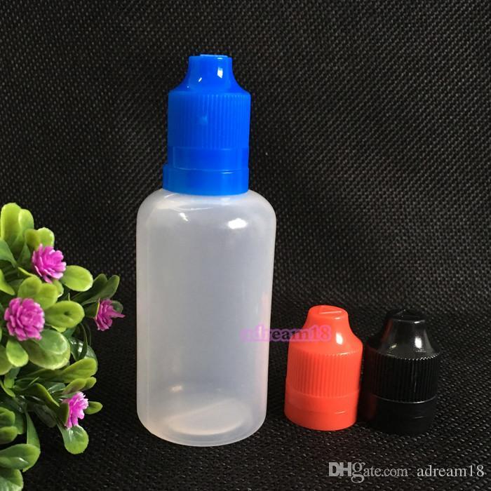 Verpakking 50 ml Kindveilige Tamper Cap Drop-fles met lange dunne tip Lege druppelaar Fles gratis verzending / Plastic Flessen