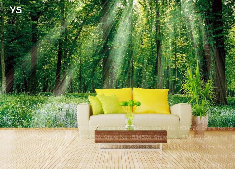 Sunshine Forest Photo Bedroom Vinyl Wallpaper Papel De Parede ...