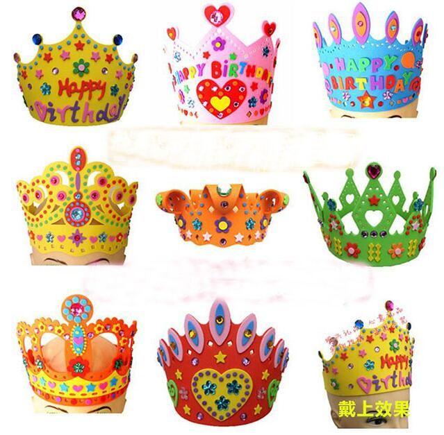 Handicraft EVA Sticker Birthday Crown Hat Cap Kids Children Puzzle Educational Toys 3D DIY For Big Party Caps Kindergarten