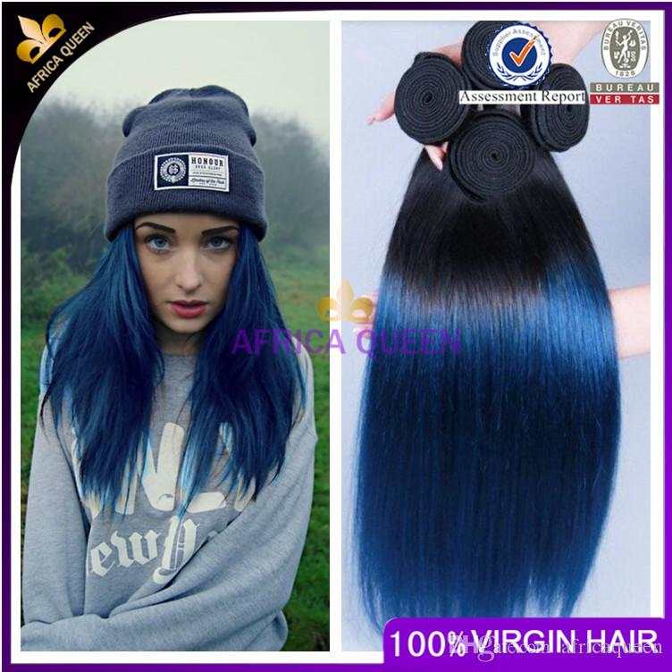 Grade 7a Brazilian Ombre Straight Blue Black Hair Extensions 1bblue