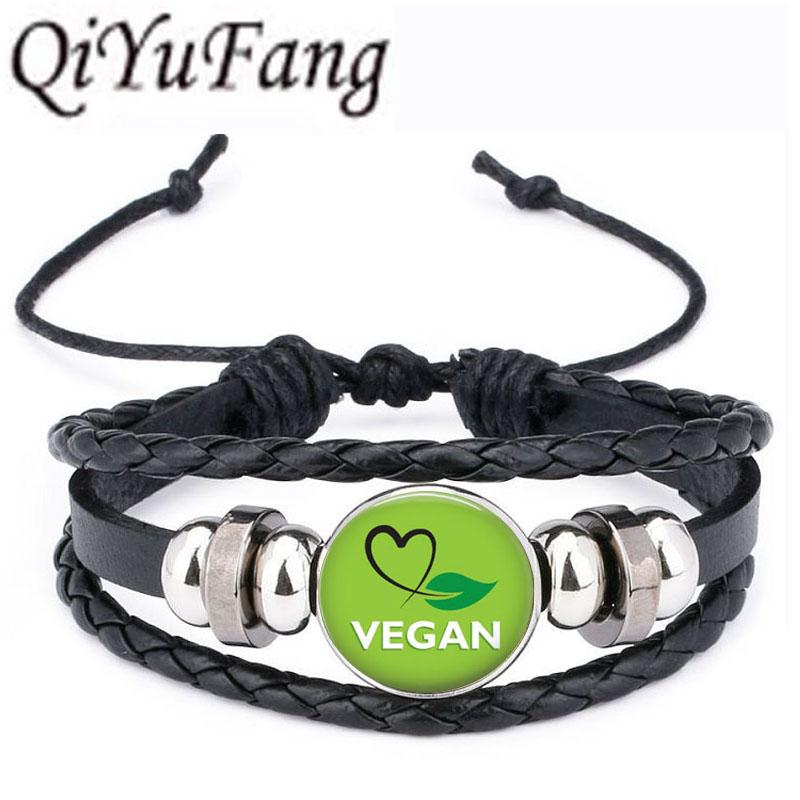 232cf3420 Wholesale QiYuFang Vegan Diet Leather Bracelet Vegetarian Diet Go Organic  Jewelry Black Multilayers Charms Bangle For Womens Mens Stainless Steel  Charm ...