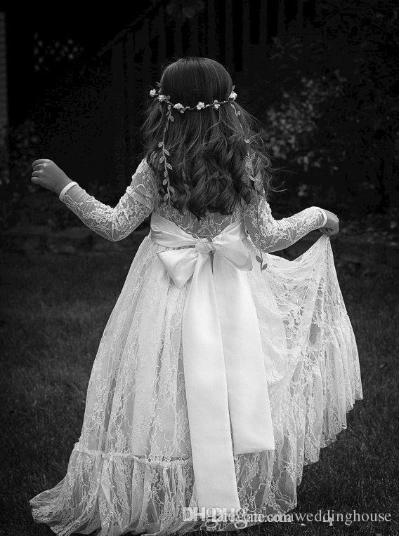Vestidos de niña de flores de manga larga para eventos de bodas Sheer Lace Vestidos de comunión Un vestido de espalda con lazo en línea para niñas pequeñas