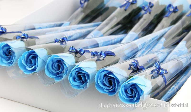 Vente chaude Rouge Fushia Bleu Couleur Rose Fleur Savon Cadeaux De Fête Des Mères / Cadeau De Mariage Pour Amis Fournitures De Vacances Fournitures Saint Valentin