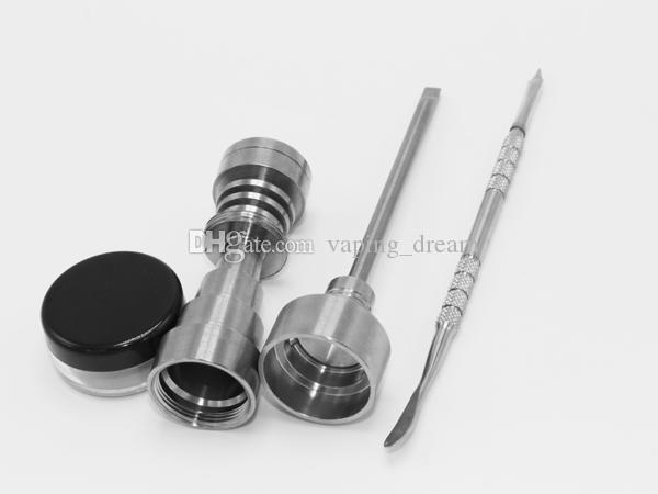 Multifunction 10mm & 14mm & 18mm Domeless GR2 Titanium Nail Carb Cap Dabber Tool plastic Jar Dab Container for Bong Water Pipes glass bongs