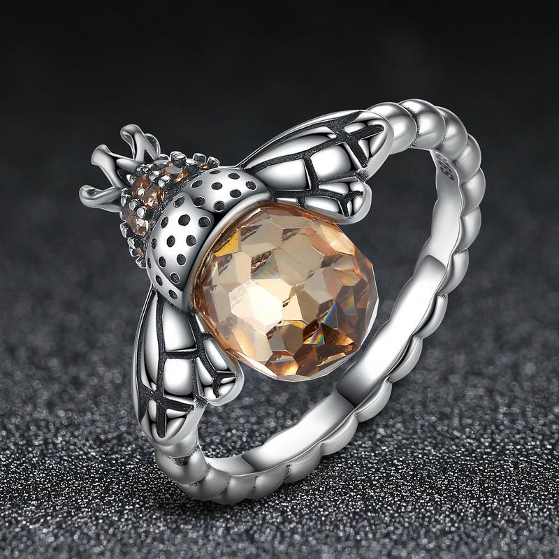 100% Authentic 925 Sterling Silver Orange Wing Animal Bee Finger Ring for Woman Sterling Silver Jewelry SCR025