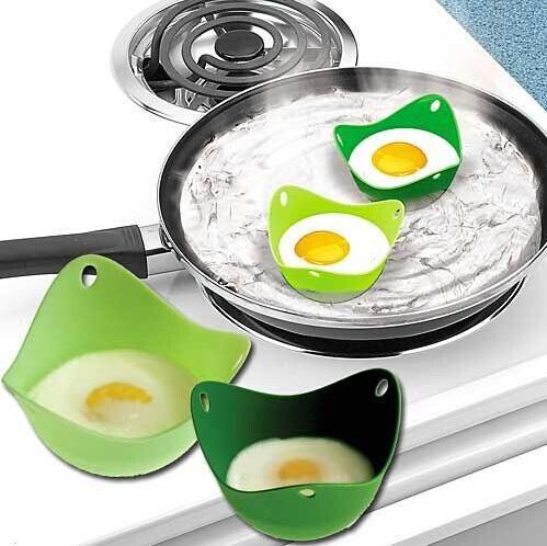 Silicone Egg Cooker Silicone Egg Poacher Pod Egg Boiler non-toxic Egg Steamer Peach Pod egg boiler