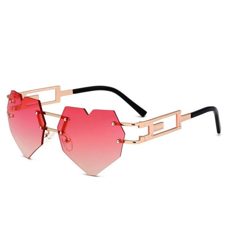 272358f0294 Pink Heart Shaped Sunglasses Women Frameless Party Blue Brown Gradient Heart  Sun Glasses For Women 2018 Metal John Lennon Sunglasses Wiley X Sunglasses  From ...