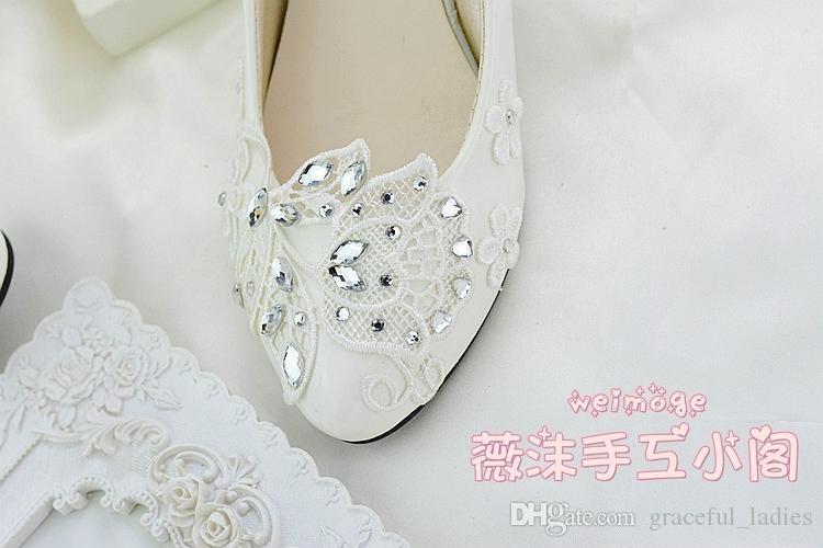Handmade IVORY Crystal Кружева Свадебные Обувь Квартира 4.5см 8 см Котенок Котенок Свадебные Бреверистая Обувь для Свадебных Складских Стразов Кристаллы Pum