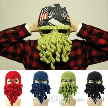 2fd29217358 Novelty Cool LOCOMO Tentacle Octopus Cthulhu Handmade Knitting Knit Beanie  Funny Animal Cthulu Beard Hat Cap Wind Ski Mask Men Women Gifts Hoodies  Beanies ...