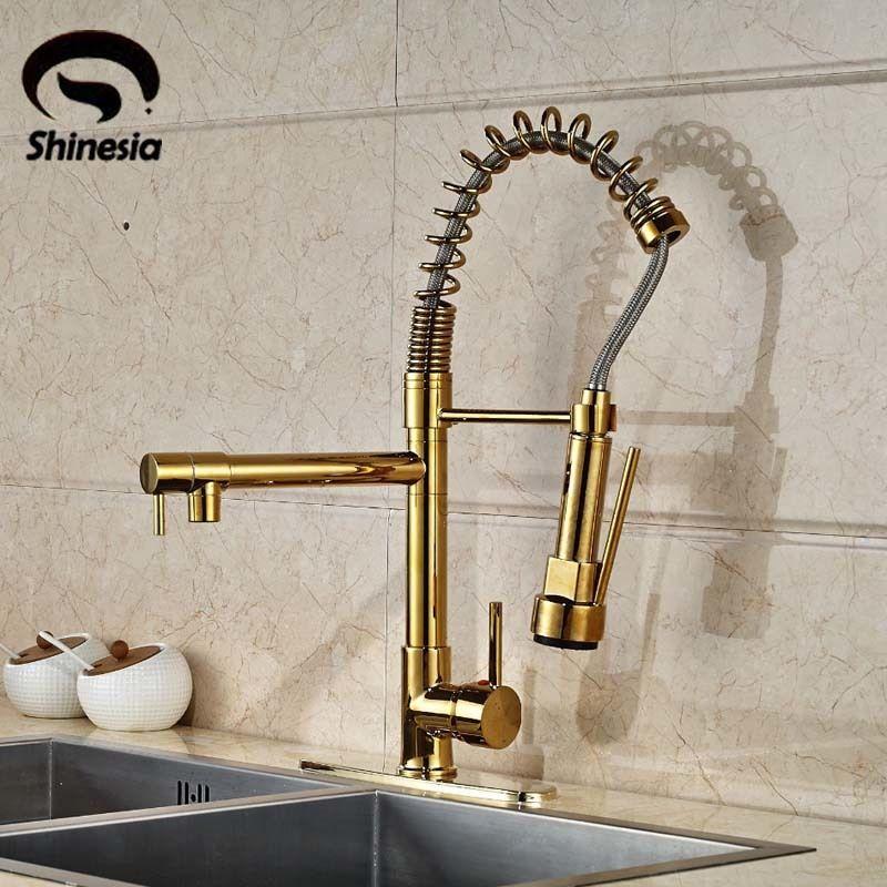 Großhandel Moderne Gold Küchenarmatur Dual Tüllen Spring Sink ...