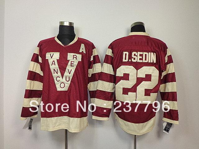 new style a8d87 4657f 2014 Heritage Classic Jerseys Vancouver Canucks 22 Daniel Sedin Winter  100th Claret Red Ice Hockey Jersey Millionaires V patch