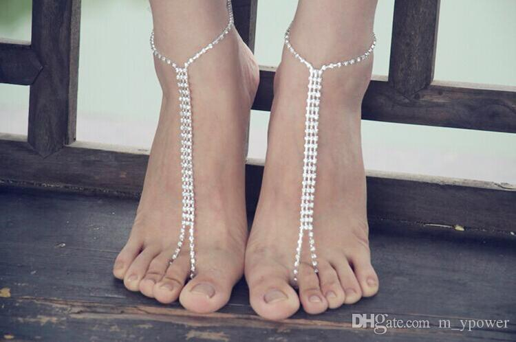 NEW Fashion Shining Crystals Beach Barefoot Sandals Beach Wedding ... bb11627e8dcd
