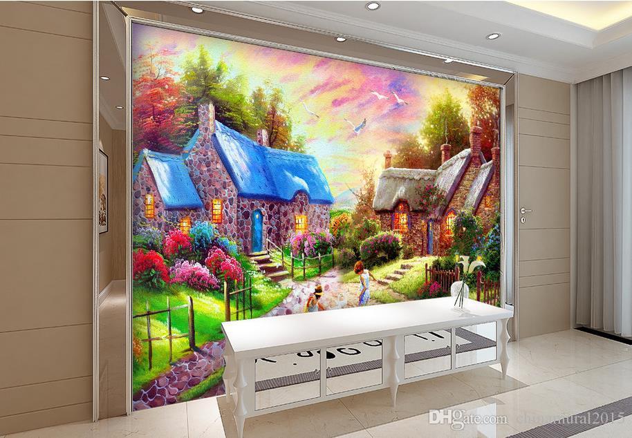 murales de papel tapiz 3d paisaje de la ciudad personalizada mural de la pared