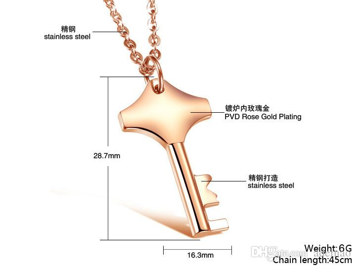 HQ white gold plated never fade no nickel Korean fashion new key pendants necklace