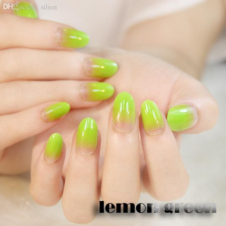 Wholesale Grace Lemon Green Short False Nail Tips Gradient Clear ...
