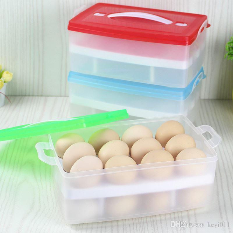 Double Layer Refrigerator Food 24 Eggs Airtight Storage Container