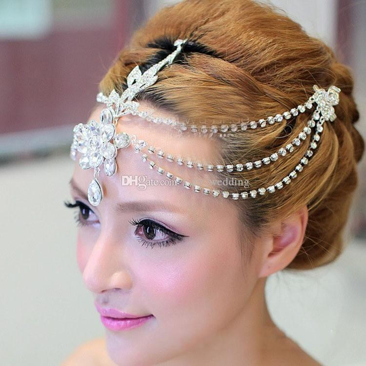 Rhinestone frente nupcial accesorios para el cabello 2018 lujo boda pelo joyas tiaras coronas para novias nupcial cabeza piezas en stock