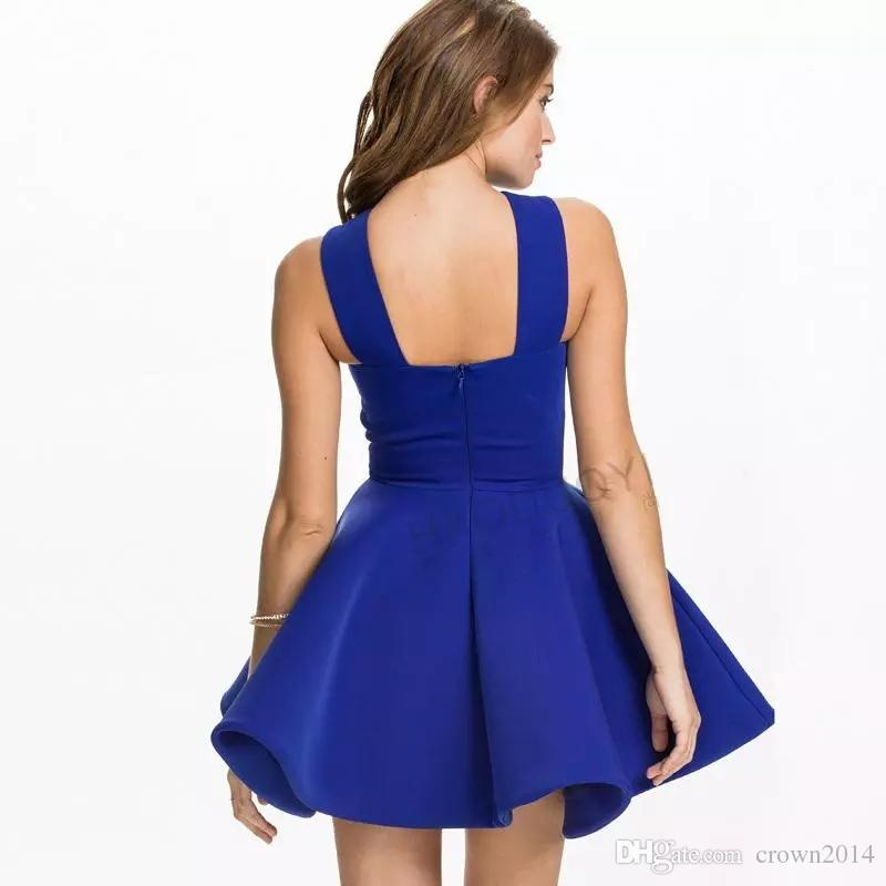 2017 Royal Blue Fashion Halter Scoop Neck Short Bodycon Dress Black Prom Dresses Summer Dress For Women Cheap Homecoming Gowns