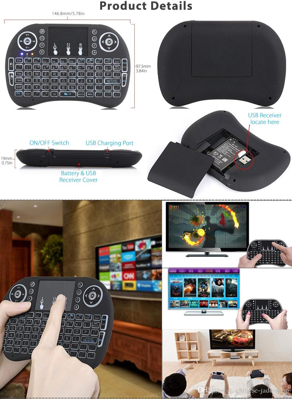 Mini Rii i8 Wireless Keyboard 2.4G Air Maus Hintergrundbeleuchtung Mit Hintergrundbeleuchtung Fernbedienung Touchpad für Smart Android 50 TEILE / LOS