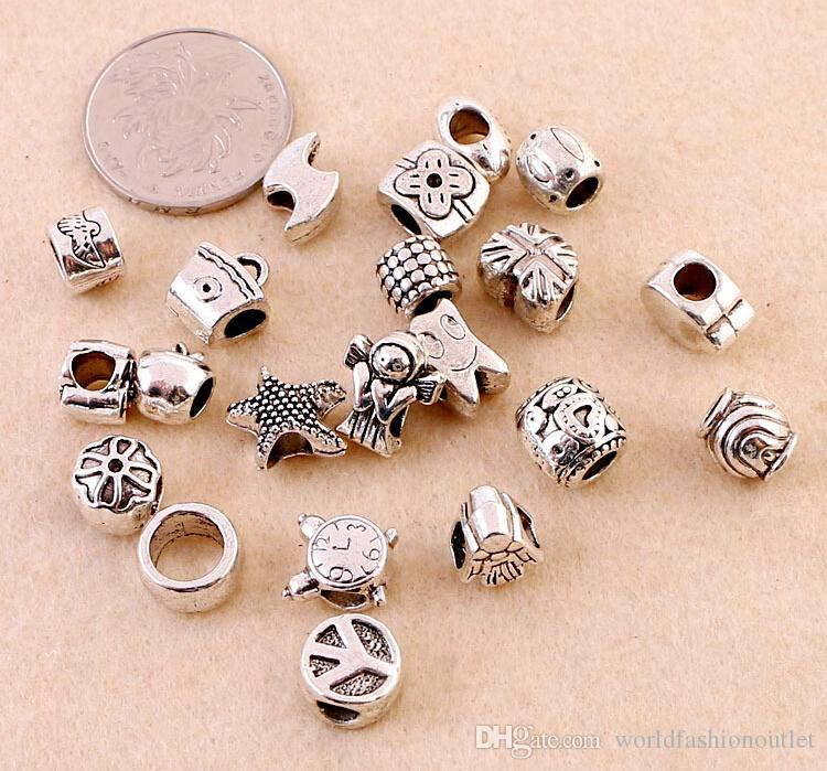 Loose Beads Mixed Design Antique Silver Acrylic Beads Spacers Beads Fit Pandora Bracelet Charm bracelets chain Accessory Jewelry Free DHL
