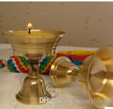 بوذا ضوء زبدة مصابيح للضوء النحاس مصباح حامل مصباح كأس زبدة مصابيح النحاس النقي بوذا المواد الدينية