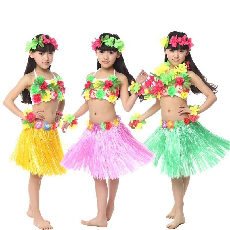 2018 Hawaii Garlands Grass Skirts Modern Dance Split Suits Boy Girls Childrenu0026#39;S Dancewear ...