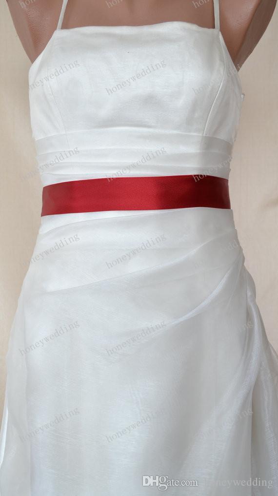 واجهت مزدوجة حمراء الشريط الساتان فستان الزفاف شاح حزام