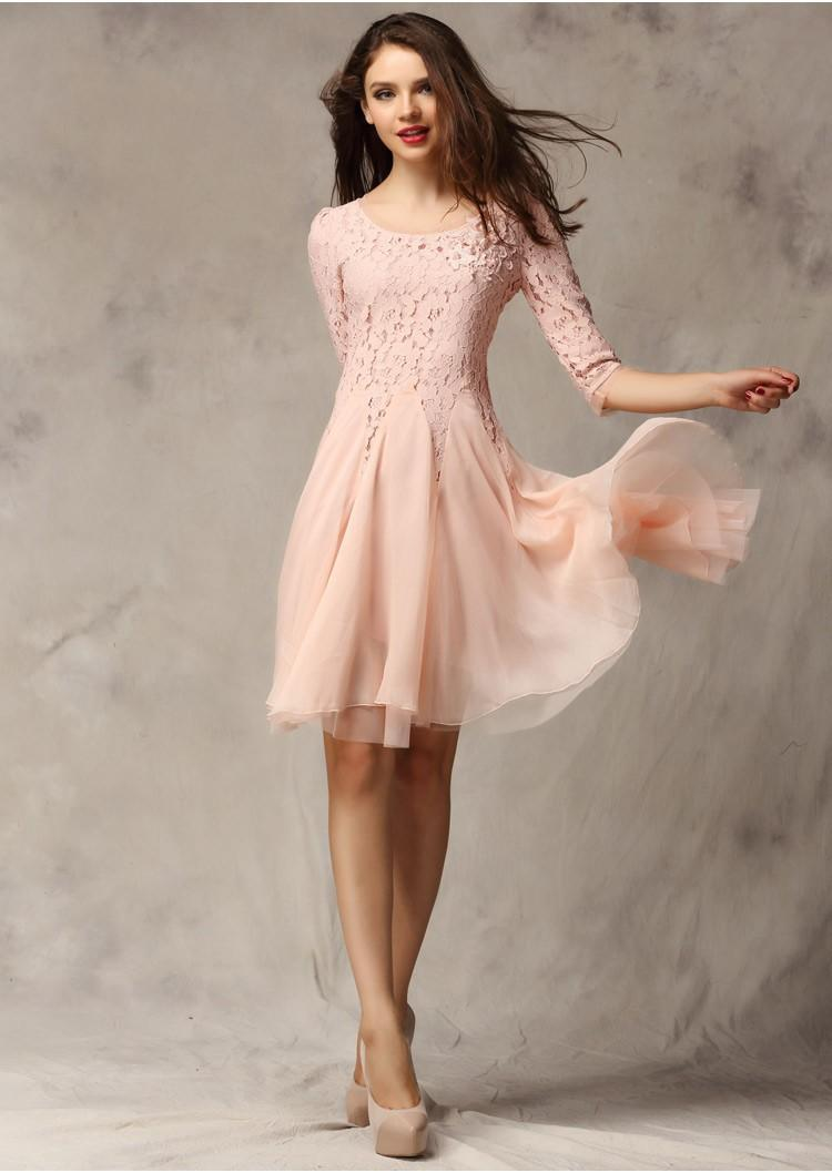 2014 New Short Sleeve Fashion Ladies Dresses 3/4 Sleeve Slim Fit ...