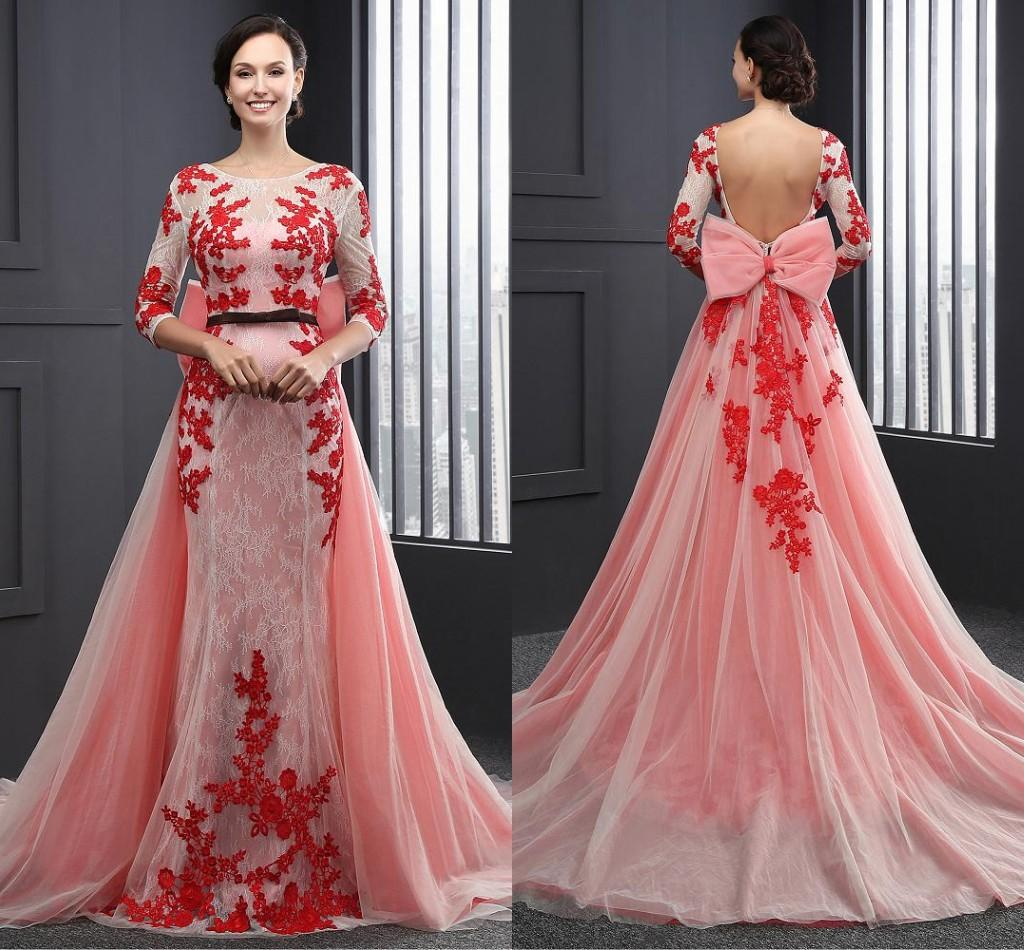 Designer 2017 Formal Mermaid Evening Gowns Long Sleeves Red Lace ...