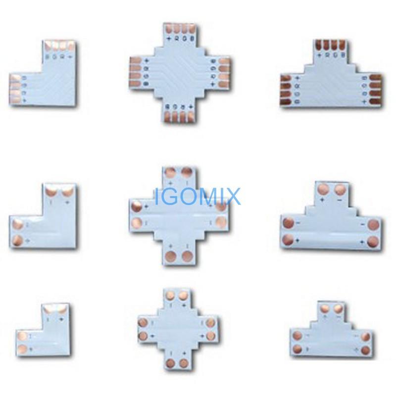 Led şerit ışık konnektörü L T + çapraz 3528 5050 tek renk RGB led şerit için şekilli