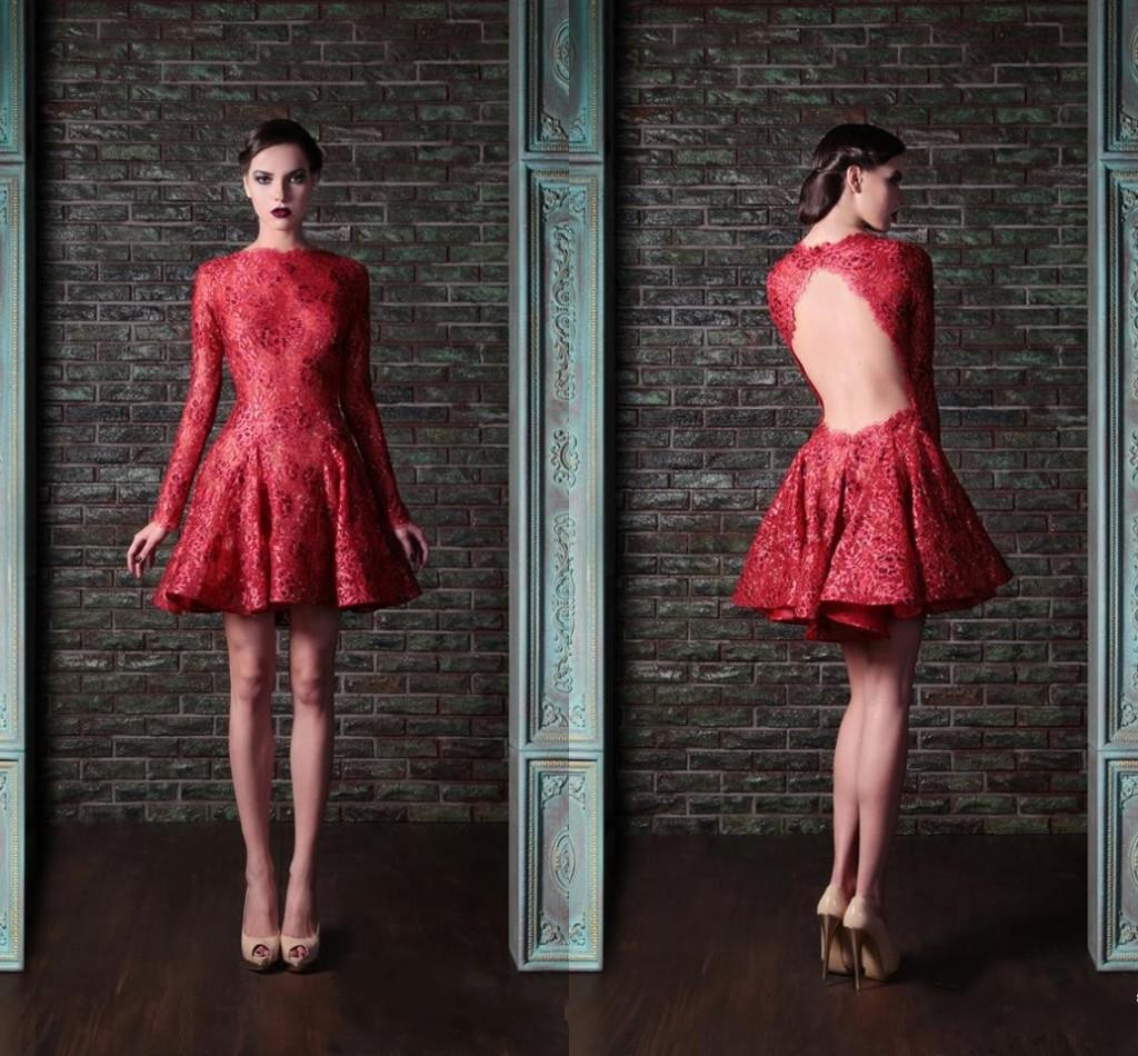 Beaded Red Short Cocktail Dresses